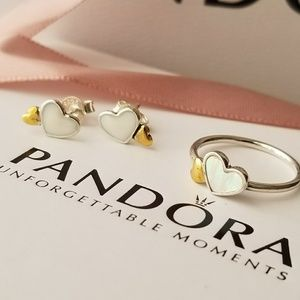 Pandora heart set ring and earrings
